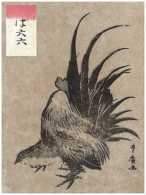 Oriental  POSTER on Paper or Cotton Canvas.Home Decor.Asian art.Chicken.3818
