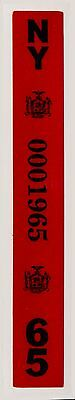 1965 New York License Plate Year Registration Sticker,Reflective 3M Material