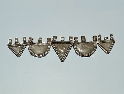 5 old african trade amulets ethiopian coin silver embossed, beads pendants