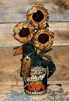 PATTERN Primitive Sunflowers and Crow Makedo Doll UNCUT by Threadbare Primitives