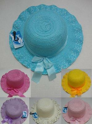 Toddler Girls Straw Summer Hat w/ Bow Childrens Child's Hat Great For EASTER -