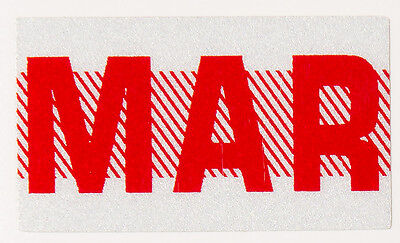 MAR March, Red, California License Plate Month Registration Sticker,Old Style