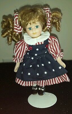 Red, White, and Blue 8in. Tall Porcelain Doll w/Stand!