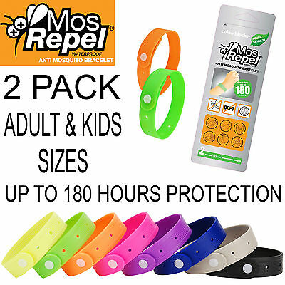 Mosrepel Mosquito Repellent Wrist Band Bracelet Insect Bug Mozzie - Twin Pack