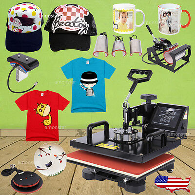8IN1 Swing Away Transfer Heat Press Machine Sublimation T-Shirt Mug Cap Plate