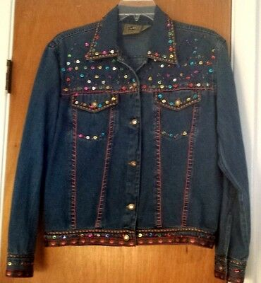 Don't Mess With Texas Womens Denim Sequin Blue Jean Trucker Jacket Size Medium
