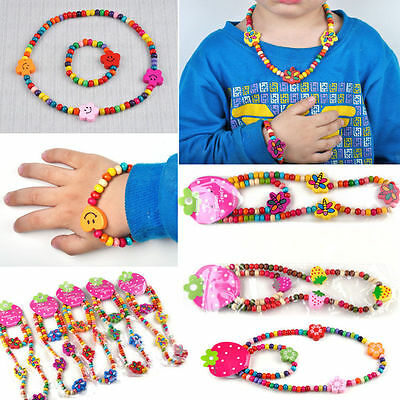 1Set Girl's Wooden Flower Heart Beads Children Necklace&Bracelet Jewellery Set