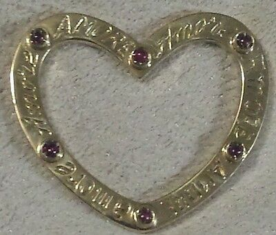 18k gold Amore Love written heart separated natural gem ruby cabochons pendant