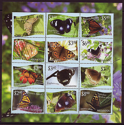Niuafo'ou  2013 Butterflies  Unmounted Mint Sheetlet Of 12