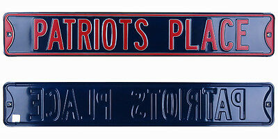 Patriots Place Official Licensed Authentic Steel 36x6 Navy & Red NFL Street Sign