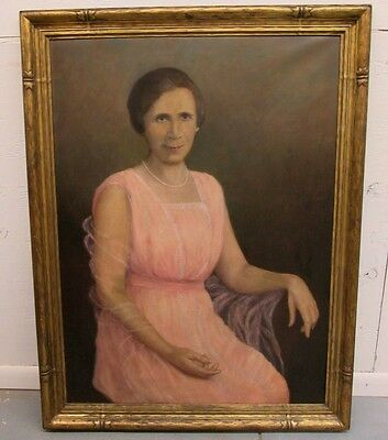 Large Antique Oil Painting Portrait of Woman_ Possibly a Foster Brothers Frame