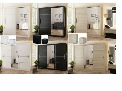 Modern Bedroom Sliding Door Wardrobe Mirror VISTA Multiple color 150/180/203/250