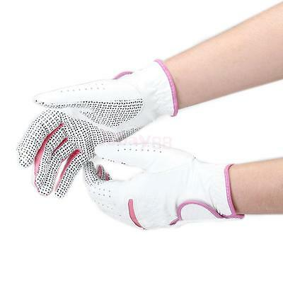 Pair Women Ladies Anti-slip Leather Golf Gloves For Left & Right Hand