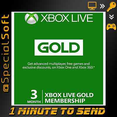 Microsoft Xbox Live 3 Month Gold Membership Subscription EMAIL DELIVERY