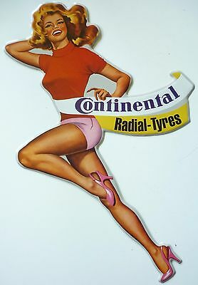 Continental Radial Tyres - 20x42cm Cut-Out Pin-Up Shaped Frau Reifen Blechschild