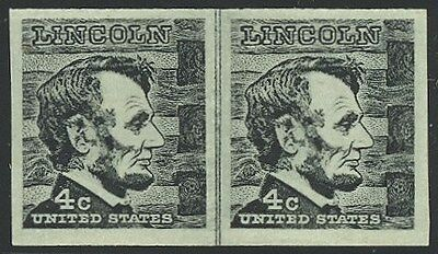 1303b - Scarce Imperf Lincoln Coil Line Pair - Never Hinged