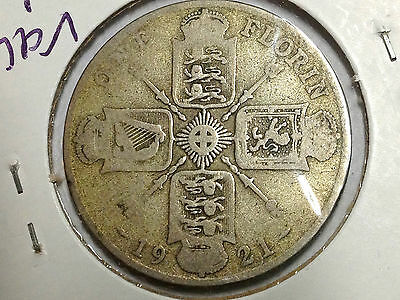 Great Britain 1921 Two Shillings  Silver Florin Better Grade Coin