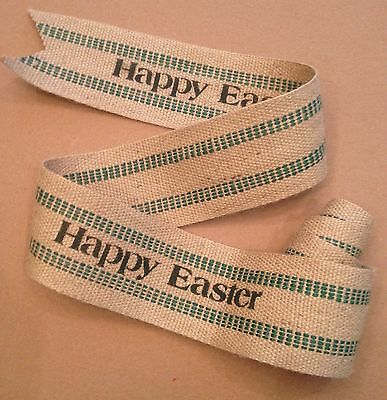 Primitive Happy Easter Jute Burlap Green Webbing Garland Ribbon Spring Handmade