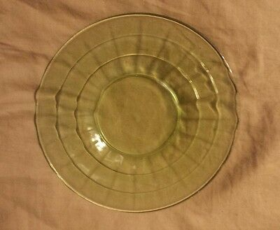 "Anchor Hocking Green Depression Glass Block Optic 6 1/4"" Plate"