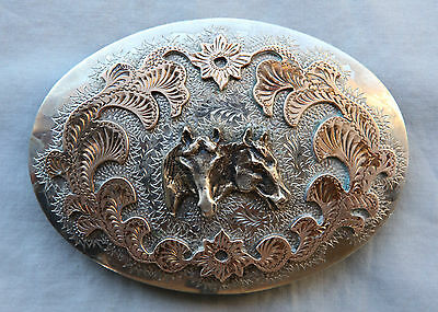 Vintage Bronco Hand Engraved Cowboy Cowgirl Horse Heads Western Belt Buckle USA