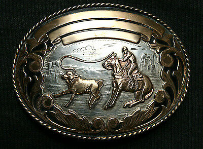Vintage Comstock Cowboy Rodeo Calf Roping Comstock Silver Western Belt Buckle