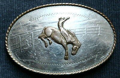 Vintage Comstock Cowboy Horse Rodeo German Silver Belt Buckle  Western Old