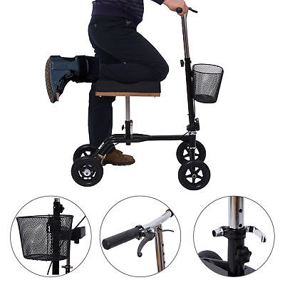 HomCom Steerable Knee Walker Foldable Scooter Medical w/ Brake Basket Black