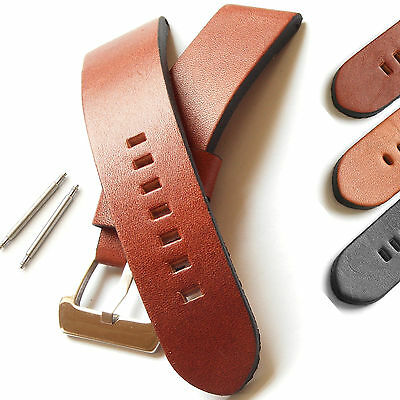 Mens Genuine Leather Watch Strap - Buckle and Spring Bars - Vintage Styling