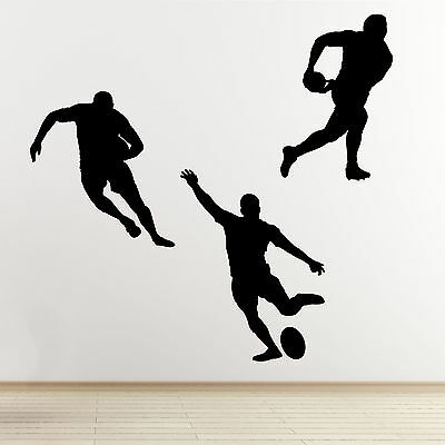 Rugby Player Wall Stickers - 3 Pack Sports Silhouette Wall Art Stickers