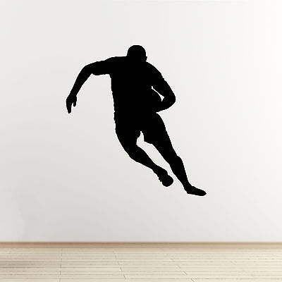 Rugby Wall Sticker - Running Player Outline - Sports Wall Art Vinyl Decal