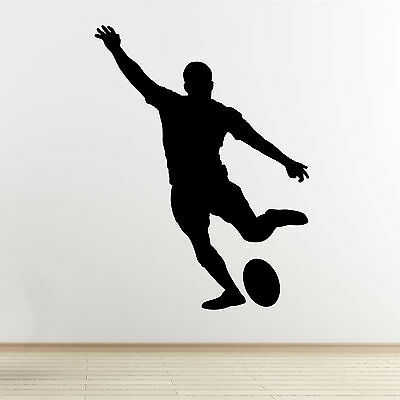 Rugby Player Wall Art Sticker - Kicking Player Outline/Silhouette - Vinyl Decal