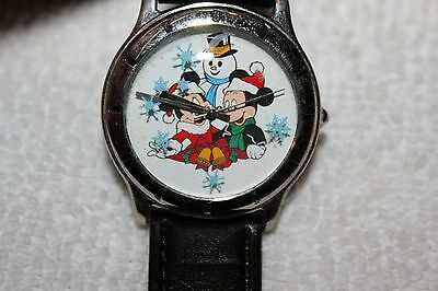 1997 Cast Holiday Celebration Watch with Case--Mickey & Minnie with Snowman