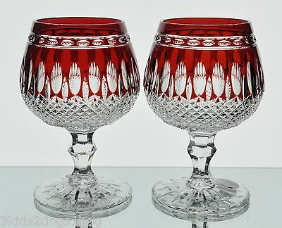 2 Ajka Clarendon Ruby Red Cut to Clear Crystal Brandy Snifter Glasses Goblet NIB