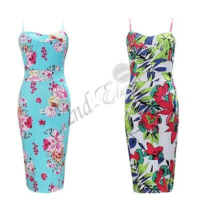 Womens Ladies Tropical Floral Bodycon Sleeveless Pencil Midi Summer Party Dress