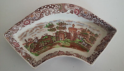 WR Midwinter Landscape England Brown Transferware Divided Tray Bowl