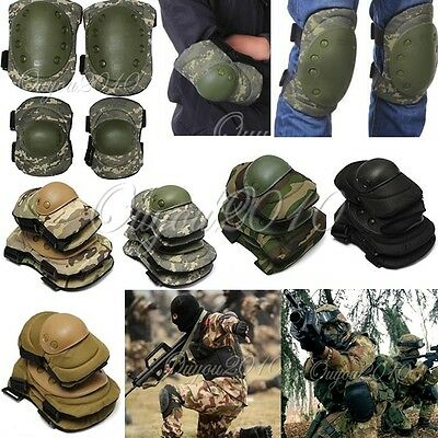 Airsoft Tactical Knee & Elbow Protective Pads Set Protector Gear Outdoors Sports
