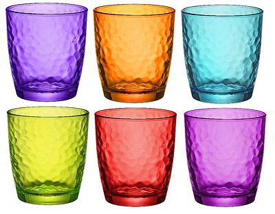 6 x Bormioli Rocco Palatina Coloured Tumbler Glasses - 320ml - Multi Coloured