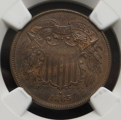1865 Two Cent Piece, NGC Certified AU-55 BN