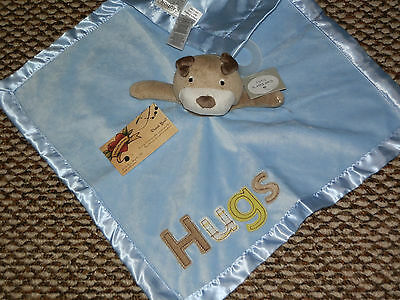 CARTER'S SECURITY BLANKET NEW PUPPY PUP DOG HUGS BLUE RATTLE VELOUR BOY SOFT