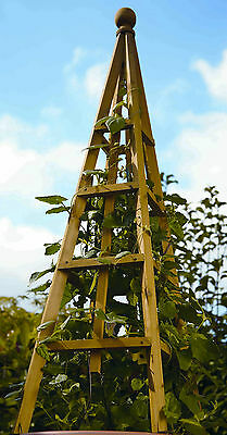Smart Garden Tan Wooden Obelisk 1.9m High - Natural Wood Climbing Plant Support
