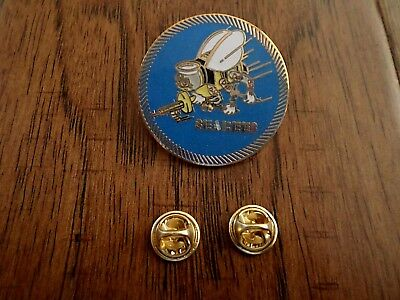 U.s Military Navy Seabees Large Hat Pin Seabee Round Logo