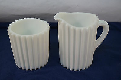 Antique Eapg Glass Raised Rib Pattern Ribbed Opaque White Cream Pitcher Sugar