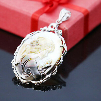 Antique Natural Cameo Carved Shell Gemstone Silver Wedding Pendant