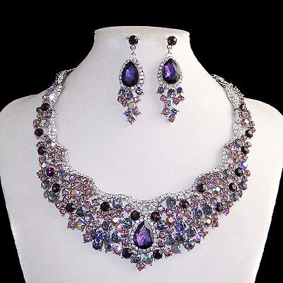 Flower Cluster Drop Austrian Necklace Earrings Set Purple Rhinestone Crystal