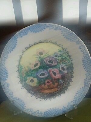 Stunning Handpainted Plate With Basket Of Flowers By Nancy Halliwell