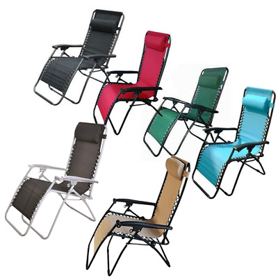 1 x Textoline Reclining Chair Zero Gravity Garden Sun Lounger Deluxe Chairs