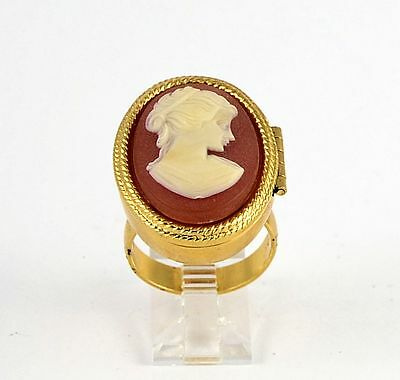 Estate Costume Avon Faux Cameo Solid Perfume Ring Gold Tone Adjustable Size
