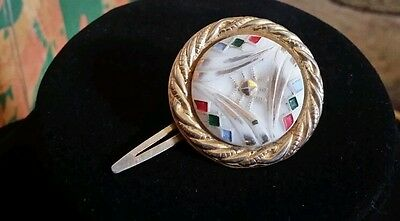 Vintage early hand painted glass Hair Clip Signed Japan unique rare exquisite