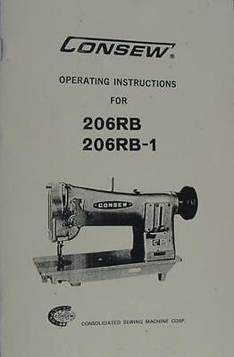 Consew 206RB & 206RB-1 Sewing Machine Operator Instructions Manual