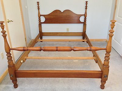 1959 Stickley original solid cherry four poster bed frame, full size